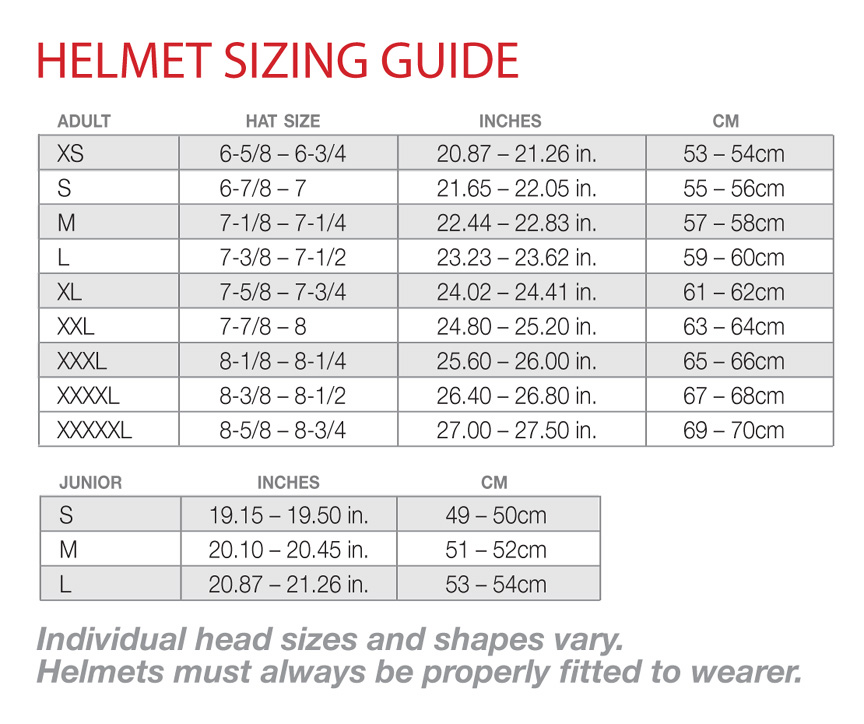 Helmet Size Chart Scooter King Of Cali Helmets And